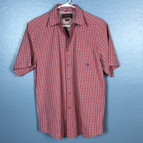 Ariat Other - ARIAT Pro Series Men's Button Up Plaid Red/Blue L